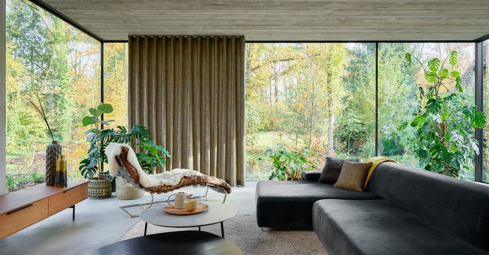 Modern furniture with glass windows