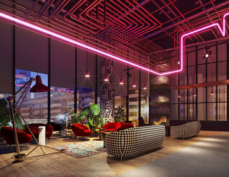 Electric red led lights in modern and quirky lounge
