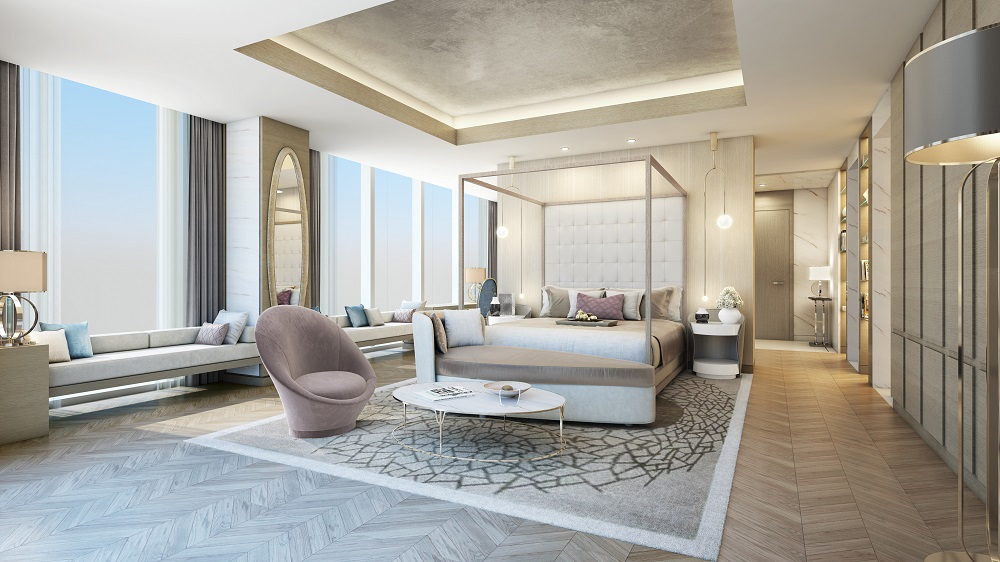 Render of luxe, light and airy suite.