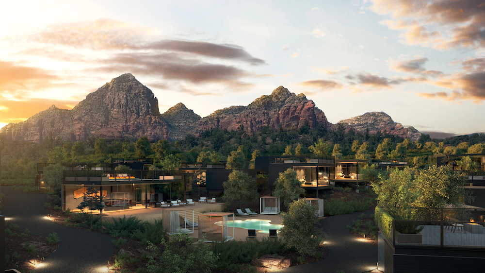 Render of hotel under rocks of Arizona