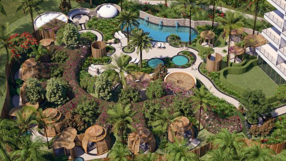 Render of birdseye view of outdoor spa and pool area