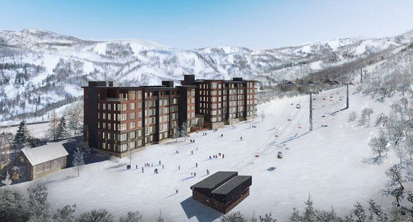 render of the slopes and the exterior of the hotel