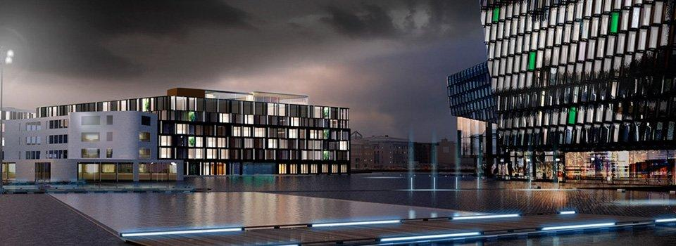 Render of the exterior of The EDITION Reykjavik
