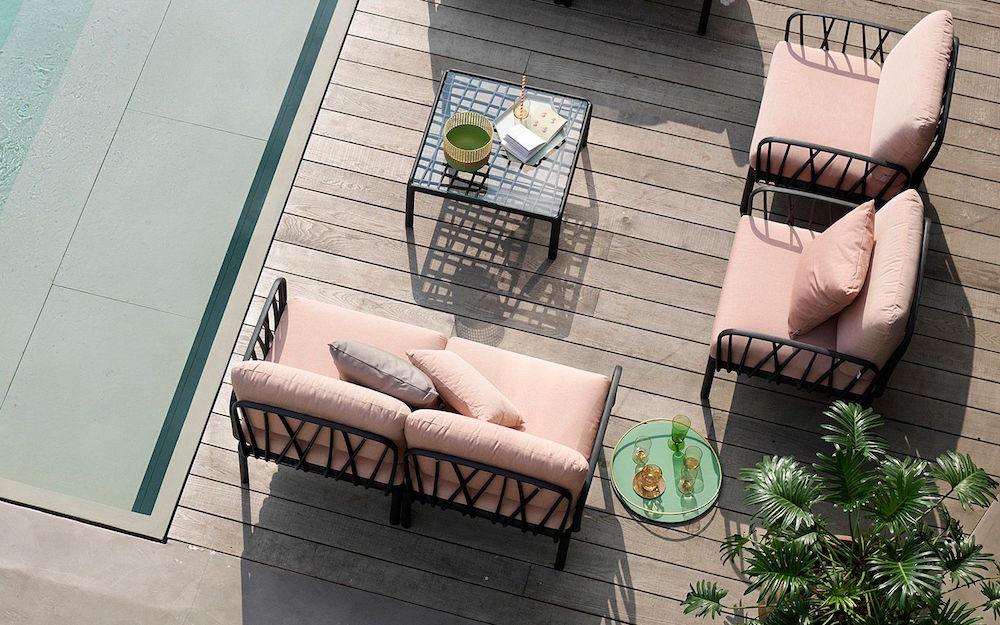 Birdseye view of pink outdoor furniture