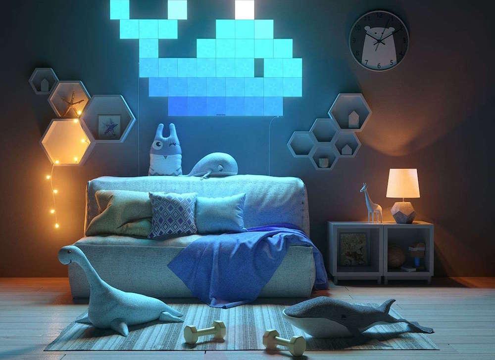 Image of lounge funky lights above comfy sofa