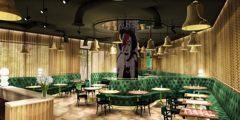 Render of the ground-floor restaurant with green banquet seating