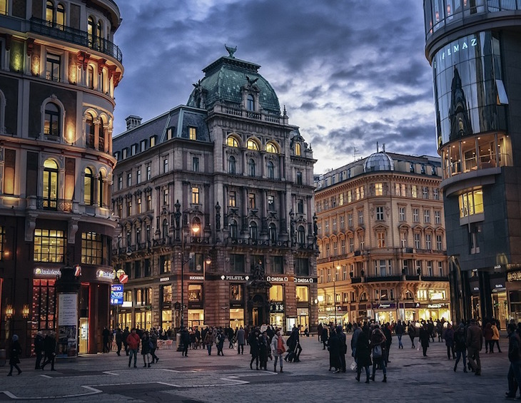 Streets of vienna at night