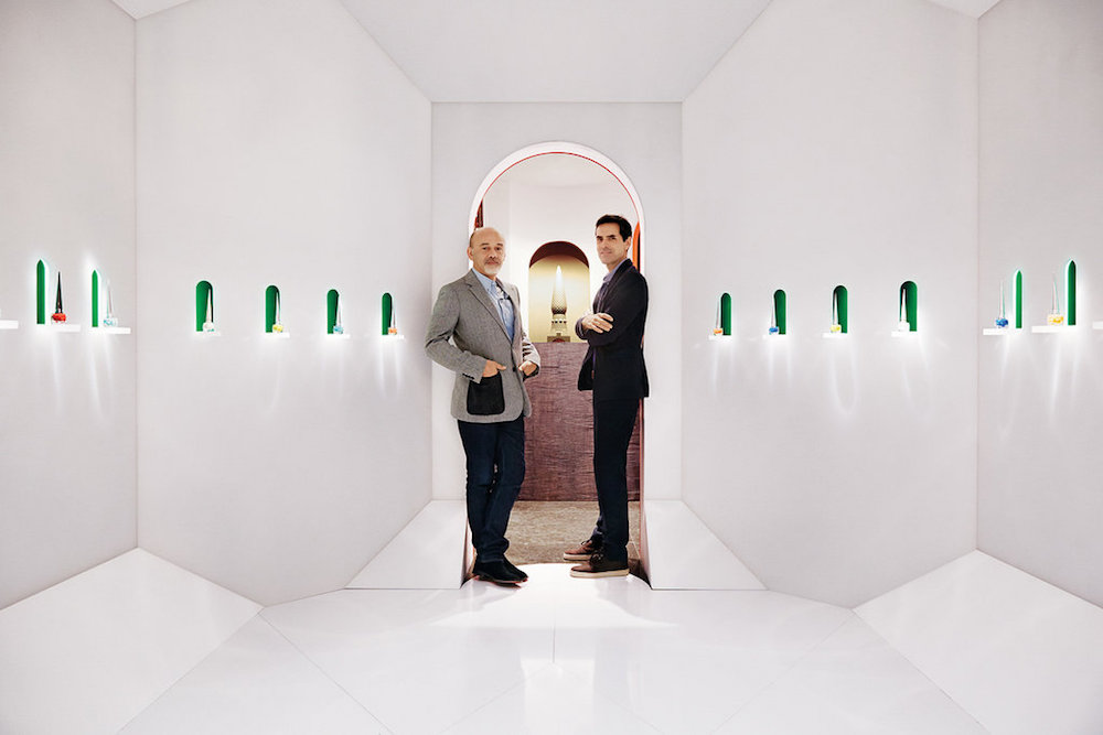 Image of Christain Louboutin and Pierre Yovanovitch in white space
