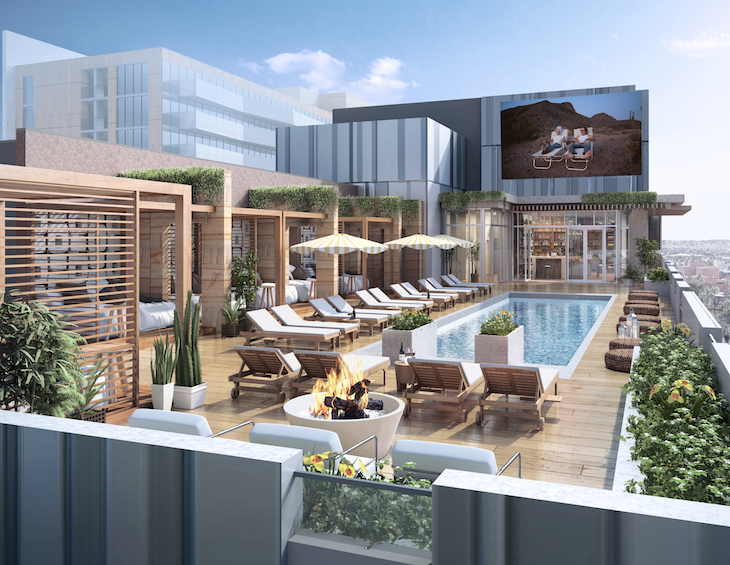 Render of rooftop bar and pool in city