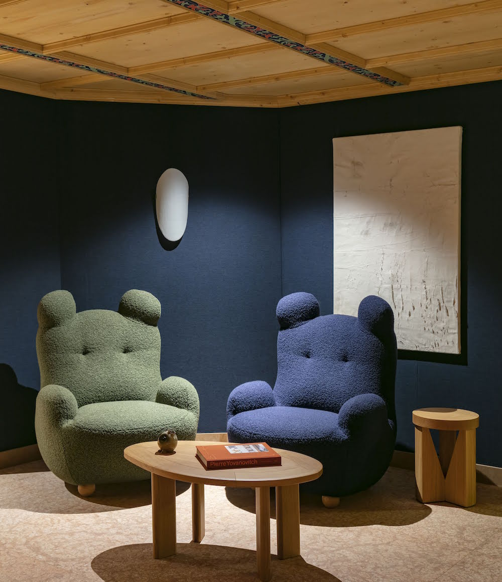 Pierre Yovanovitch's designed Bear Chairs sit in the corridor between the lobby and the F&B areas