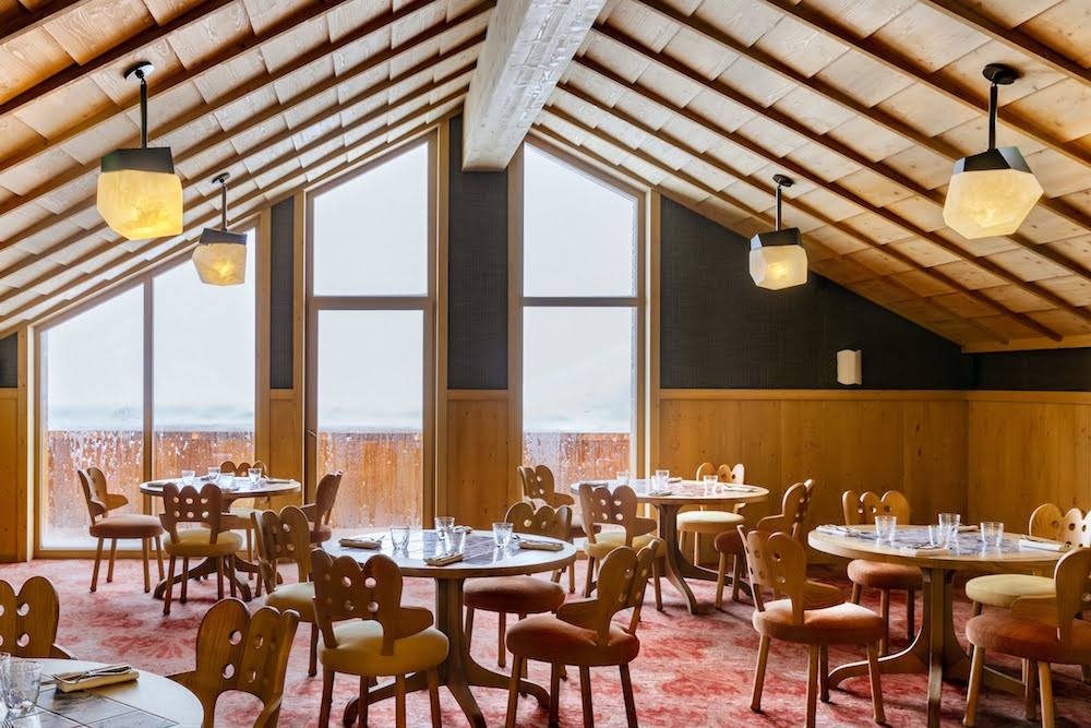 Floor to ceiling windows inside the restaurant