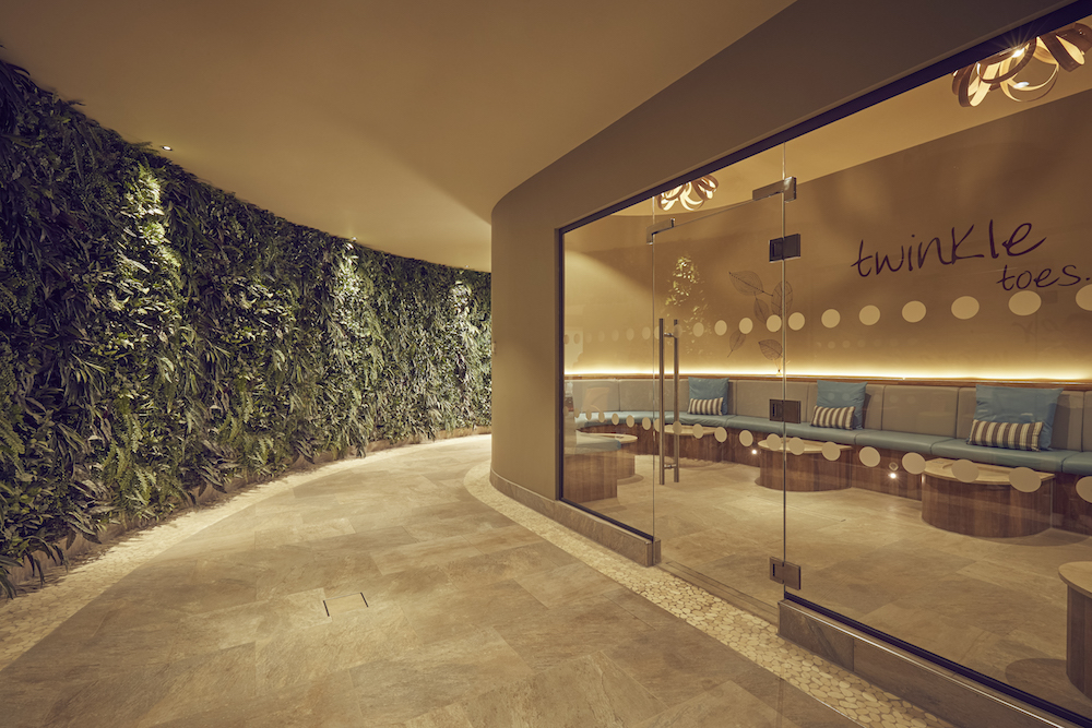 living wall in coridor next to salon