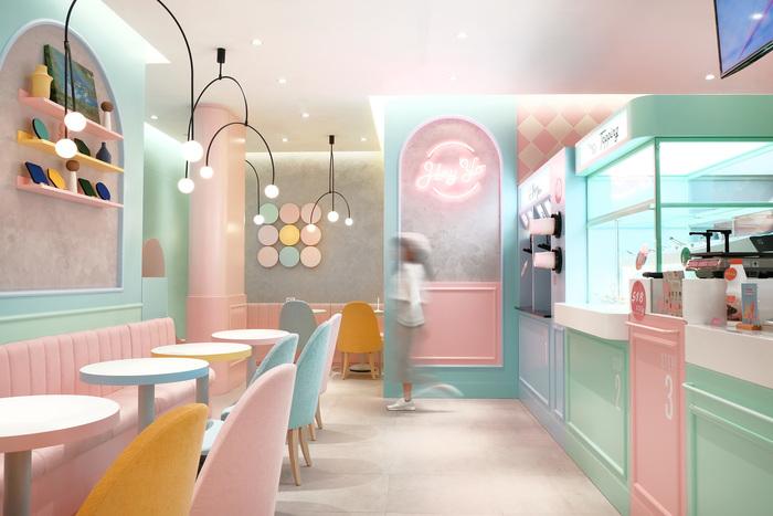 Pastel colours in restaurant