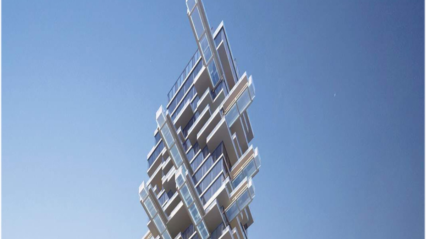 Render of the top of a building that has been made to look likke a jenga set