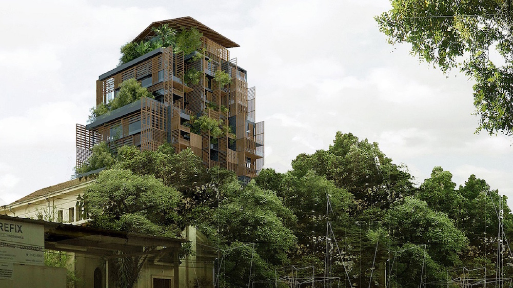 image of building camouflaged in trees