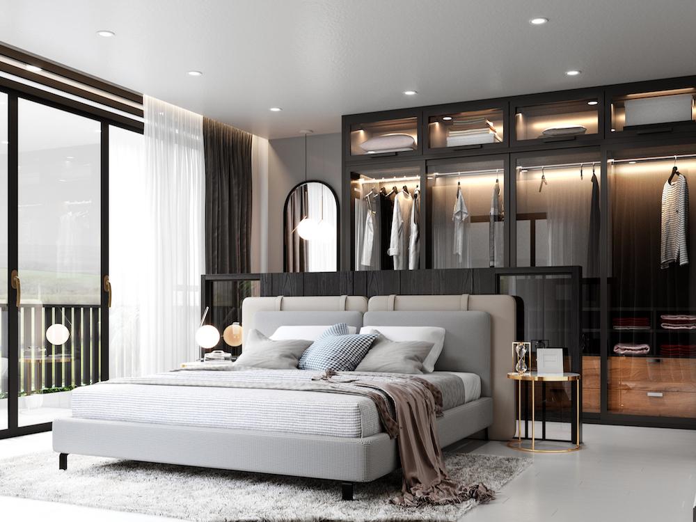 Image caption: CGI rendering of modern bedroom   Image credit: North Made Studio
