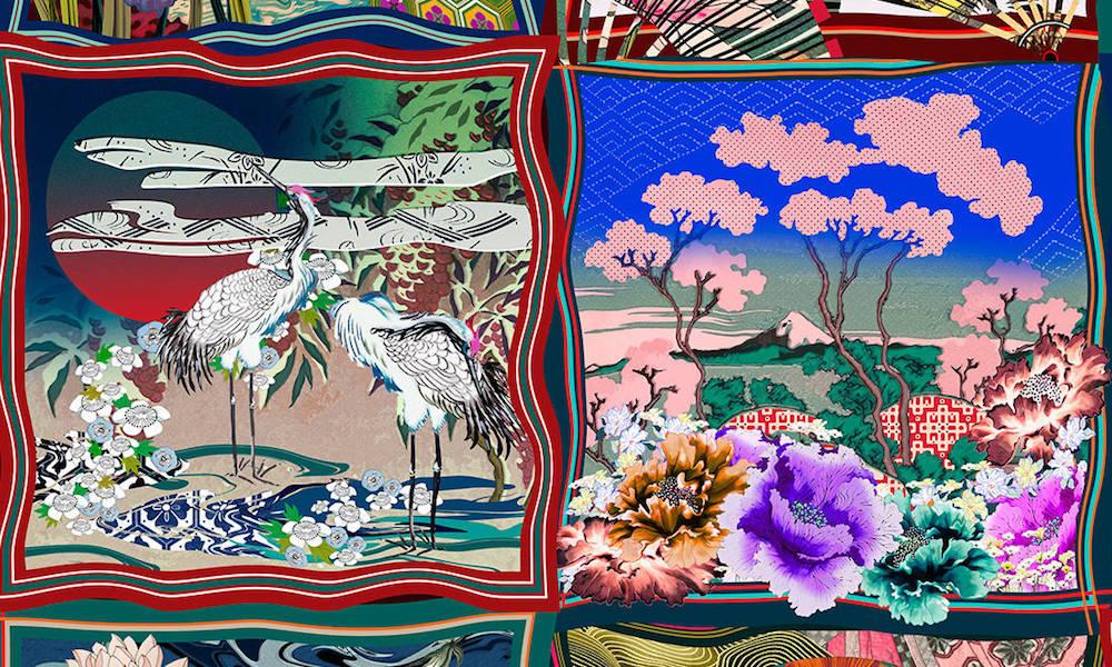 Intricate Kimono pattern detail in wallcovering