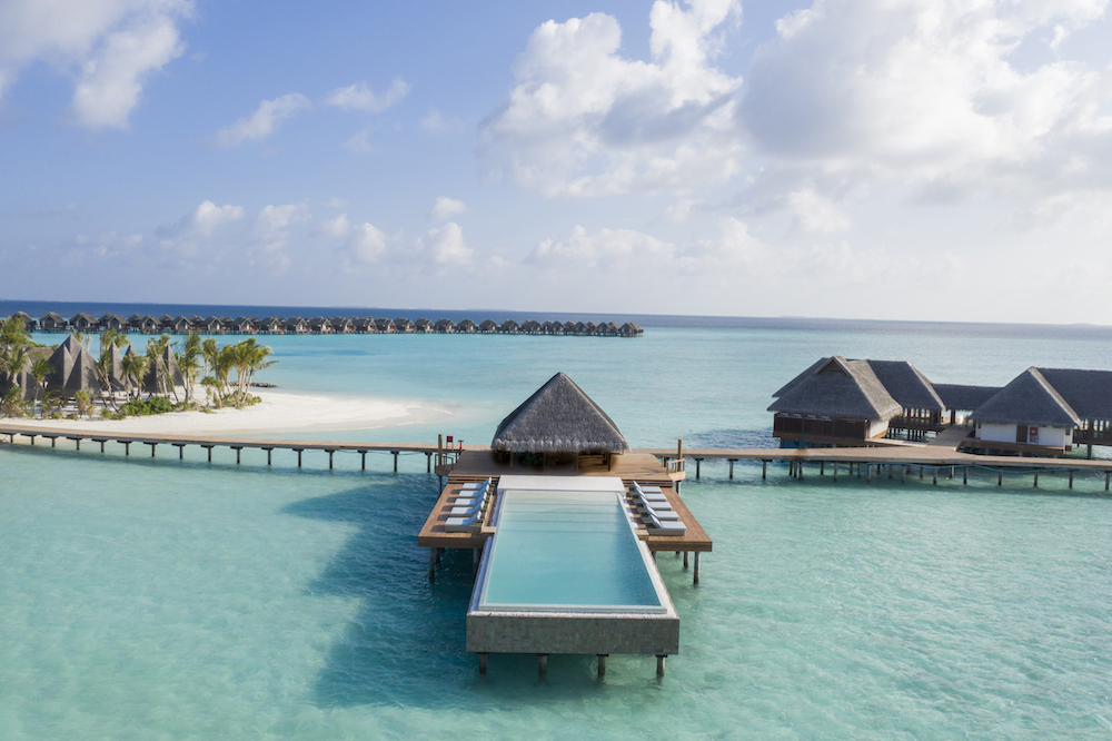 Luxury pool on stilts in the middle of ocean