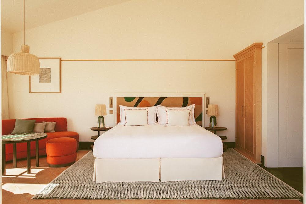 Soft-lit guestroom