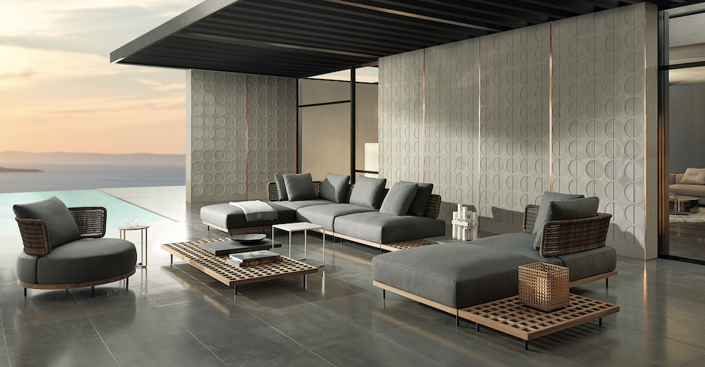 Colelction of furniture above striking views of a lake