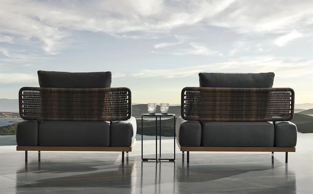 Twi backs of armchairs