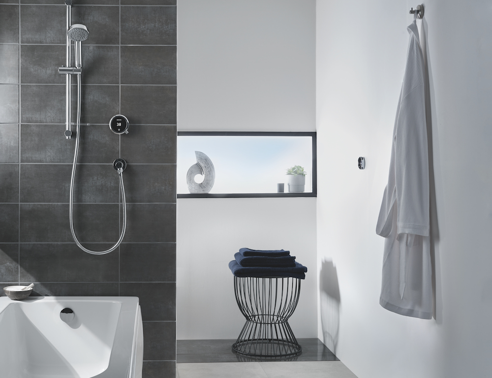 Image of modern bathroom with modern shower