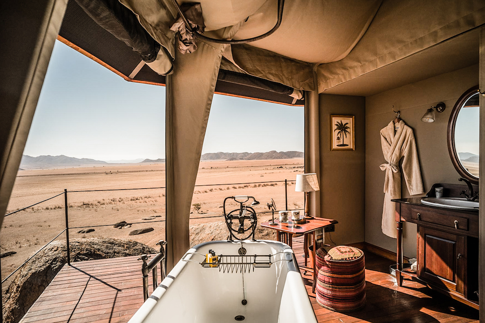 Bath overlooking desert in tent