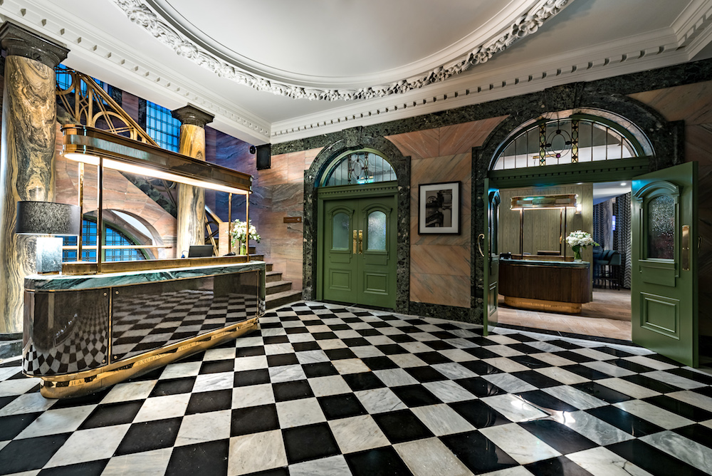 Monochrome tiles in the luxury lobby at Stock Exchange Hotel, Manchester