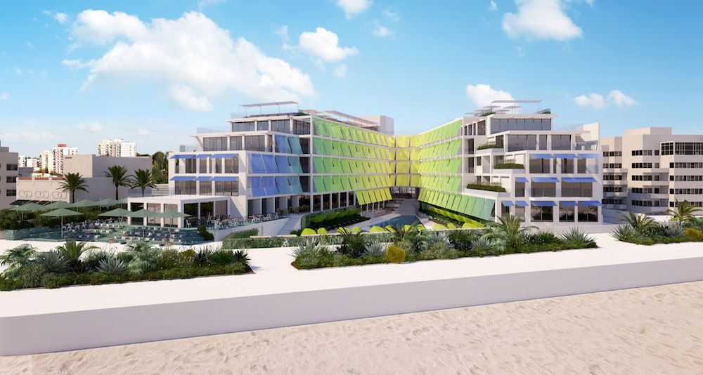 Render of green and blue exterior of the hotel