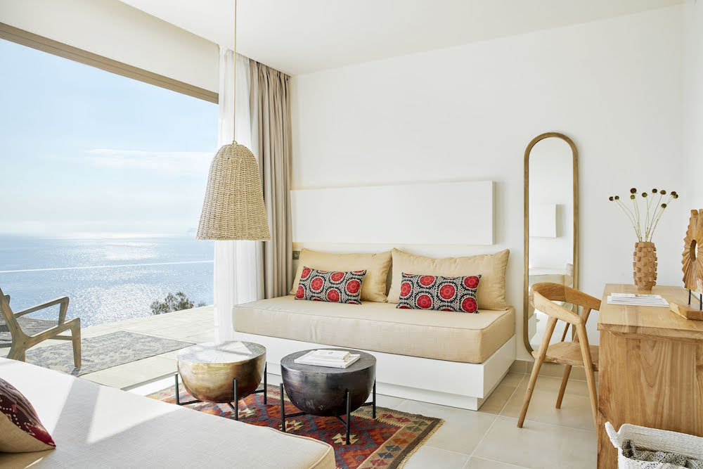 Greek interiors inside suite overlooking sea