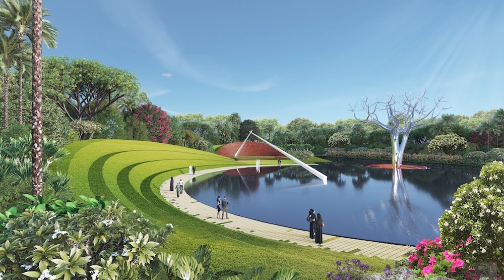 Image caption: A rendering showing the landscape design on The Island