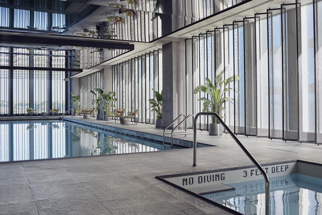 Light and bright pool area in the spa