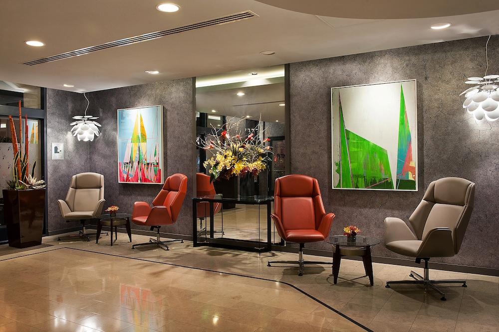Image caption: The lobby, inside Club Quarters Hotel, San Francisco