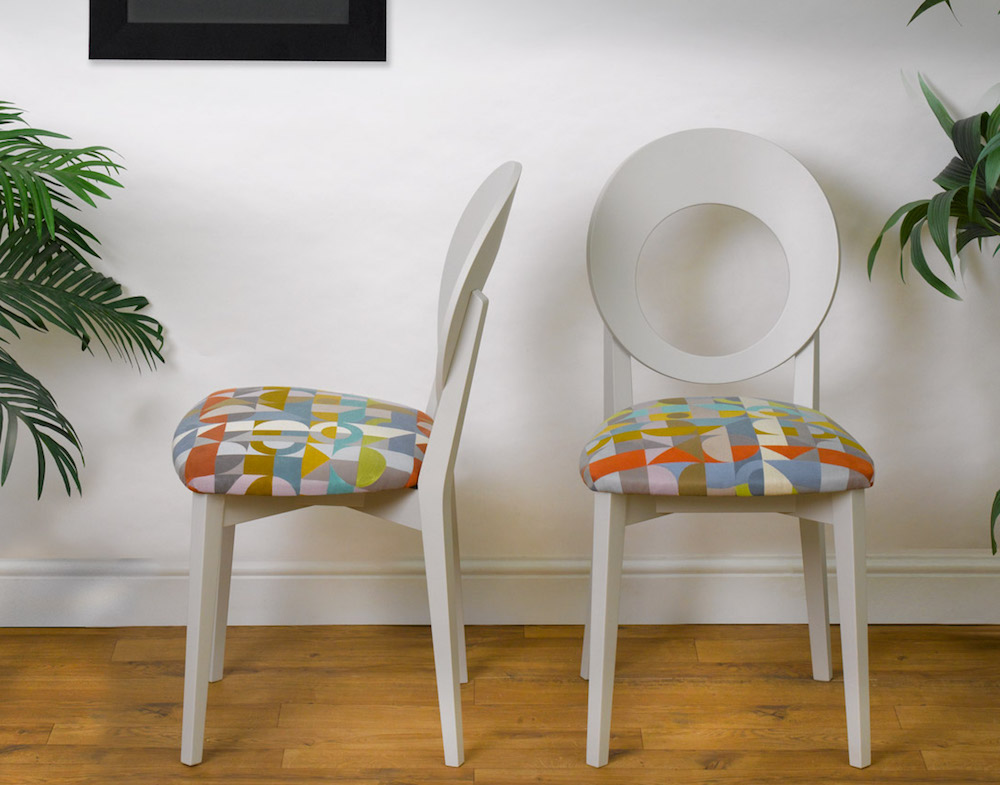 Image caption: The Chloe Chair upholstered in Margo Selby's Motown | Image credit: Cheeky Chairs
