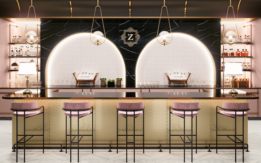 Image of luxury bar with marble surfaces