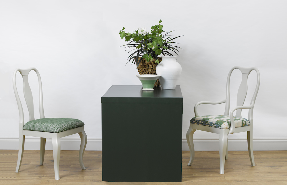Image caption: Marco Chairs upholstered in Hippie Green and Chubby Check by Kit Kemp