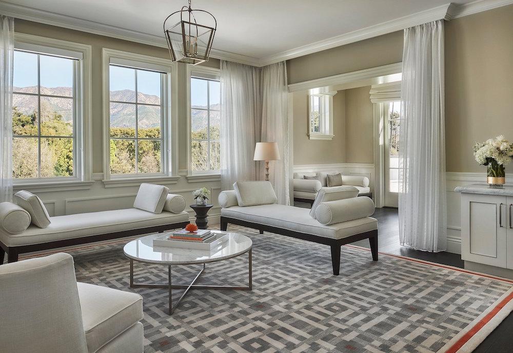 Image caption: A suite inside Rosewood Miramar Beach Hotel, designed by Richmond International