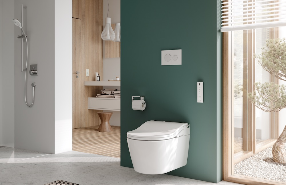 Toilet in situ of modern bathroom