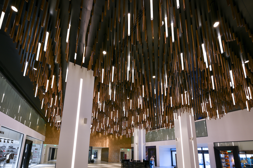 Close up of the lighting installation on the ceiling