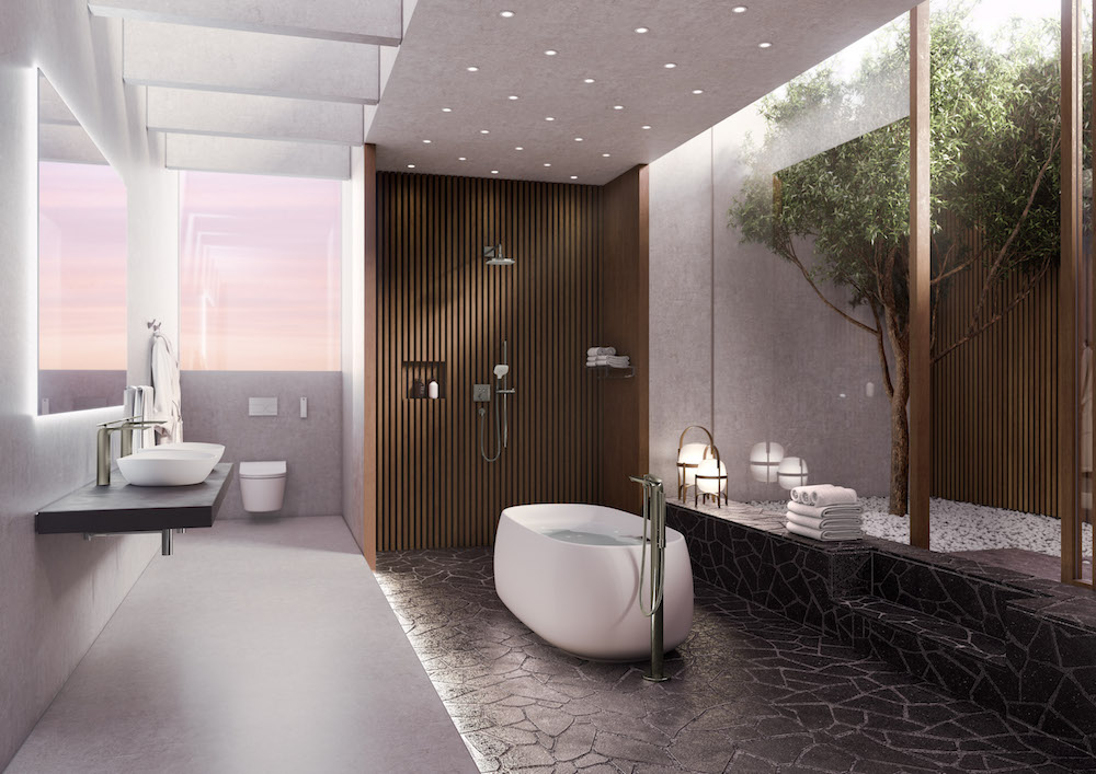 A futuristing bathroom setting with a TOTO bath in the centre
