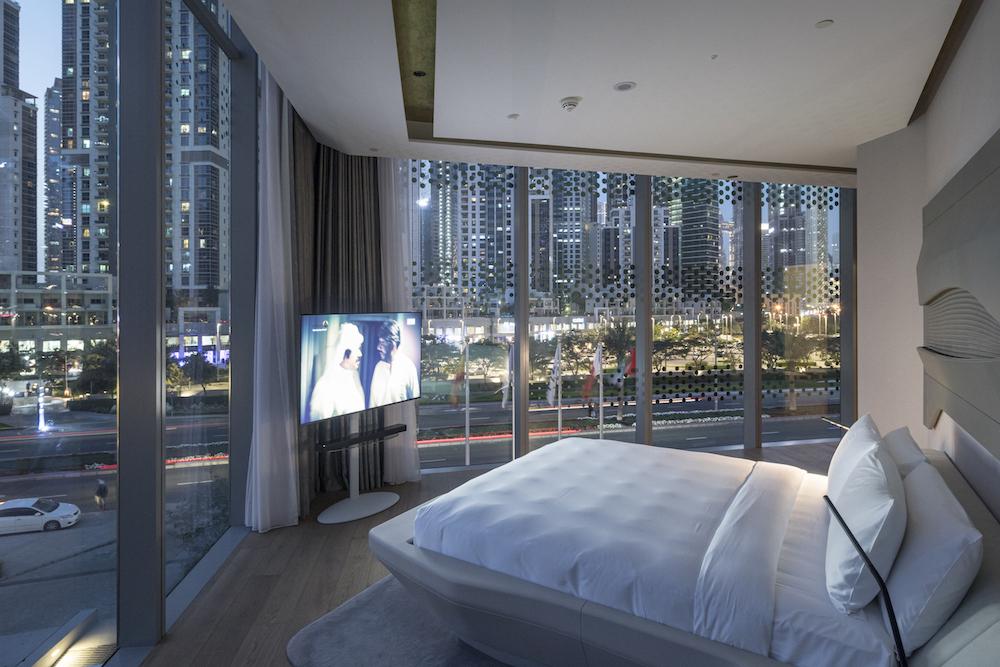 Modern, angular guestroom