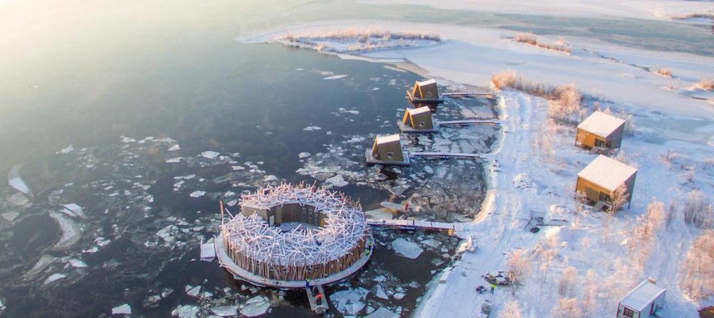 Establishing shot of the spa on a frozen lake