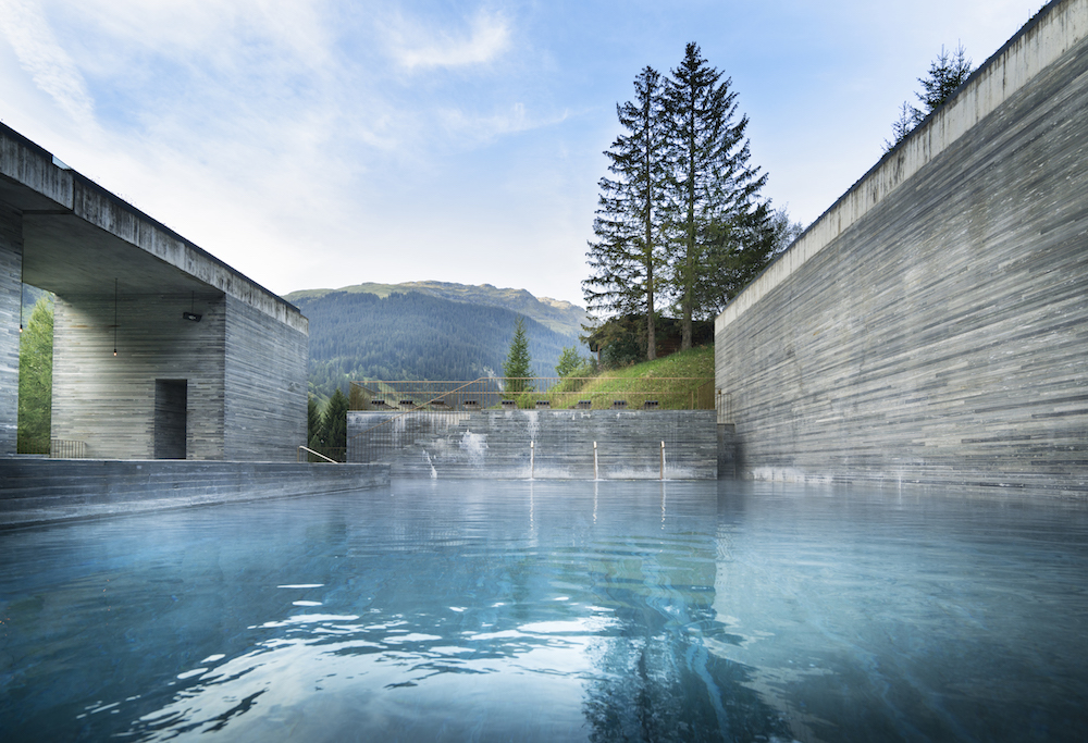 thermal bath overlooking mountains
