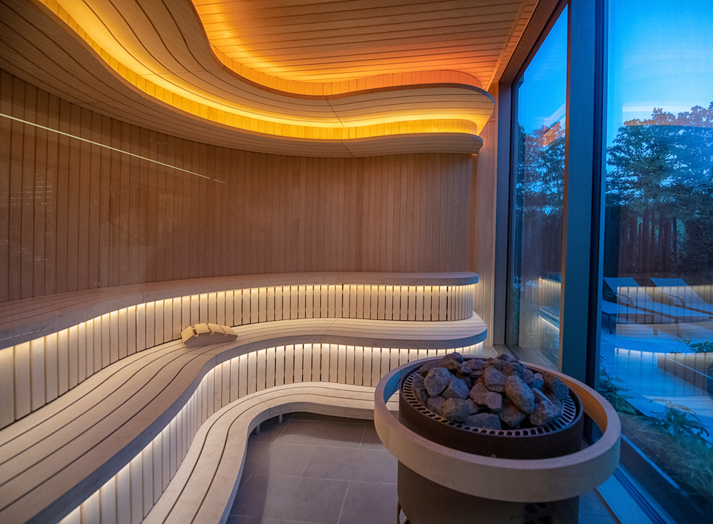 Image caption: Modern sauna inside Cottonmill Spa at Sopwell House