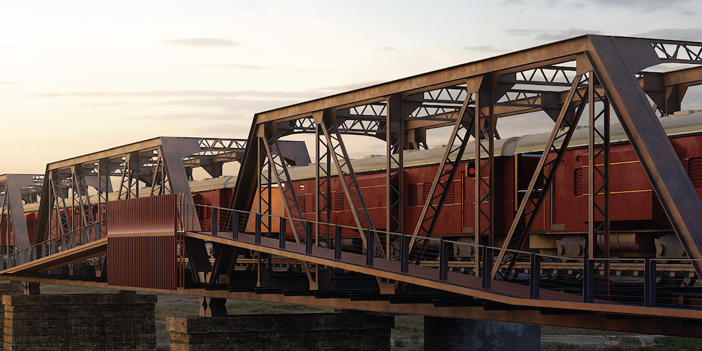 Render of train on bridge