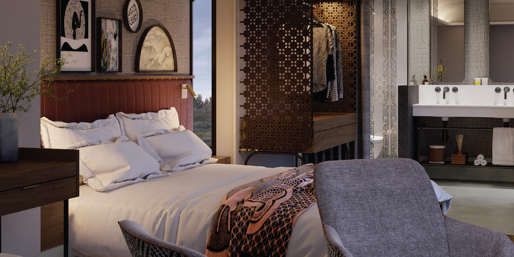 African-inspired Interior design in luxury guestroom.
