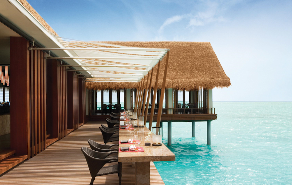 Restaurant overlooking ocean in the Maldives