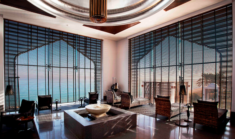 Luxury spa area that frames unspoilt view through rustic blinds