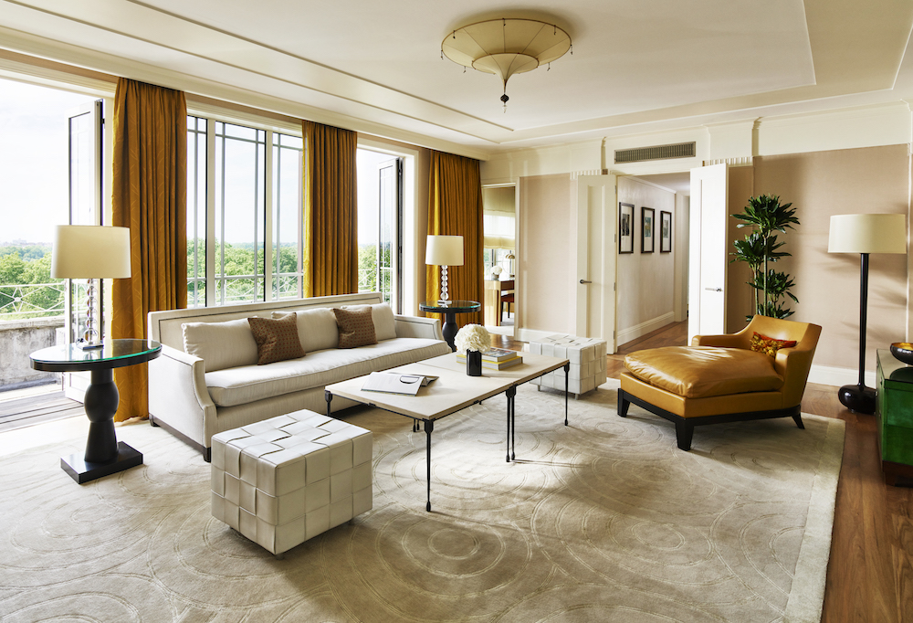 Image caption: The living room inside the Harlequin at The Dorchester-