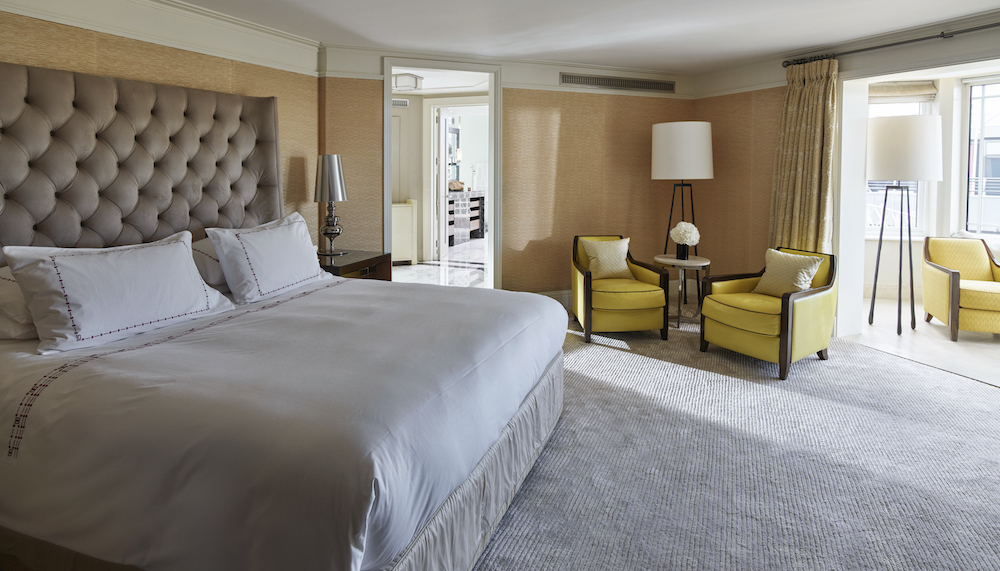 Image caption: The sedated bedroom inside The Dorchester Terrace Penthouse